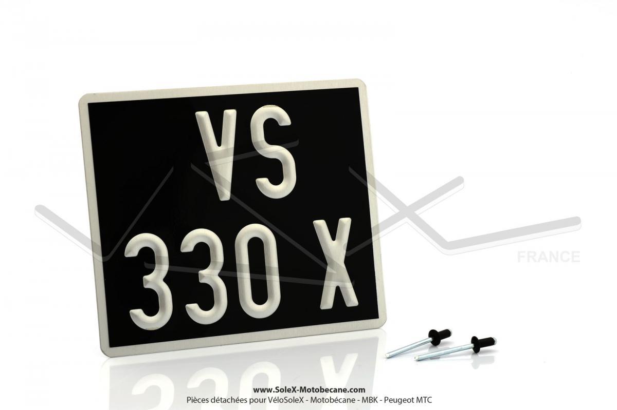 plaque immatriculation noire 140x120 pour solex. Black Bedroom Furniture Sets. Home Design Ideas