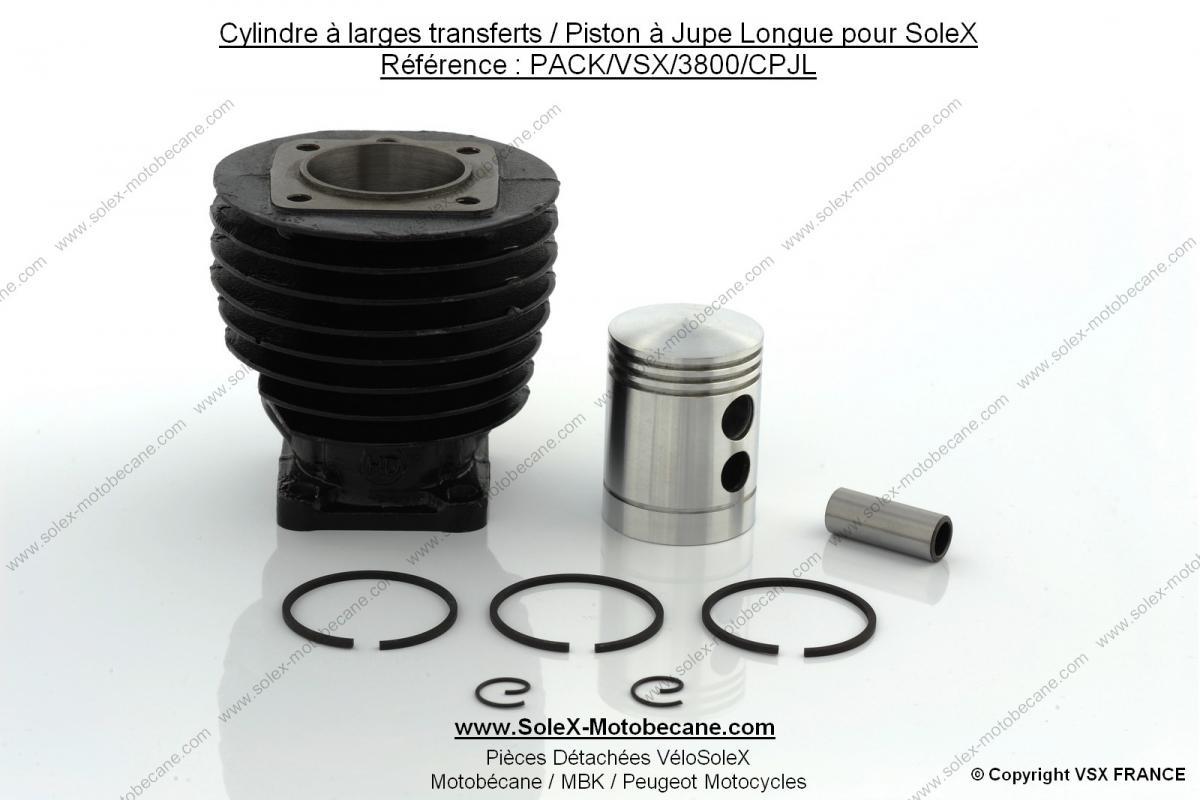 cylindre larges transferts piston jupe longue pour solex packs solex motobecane packs. Black Bedroom Furniture Sets. Home Design Ideas
