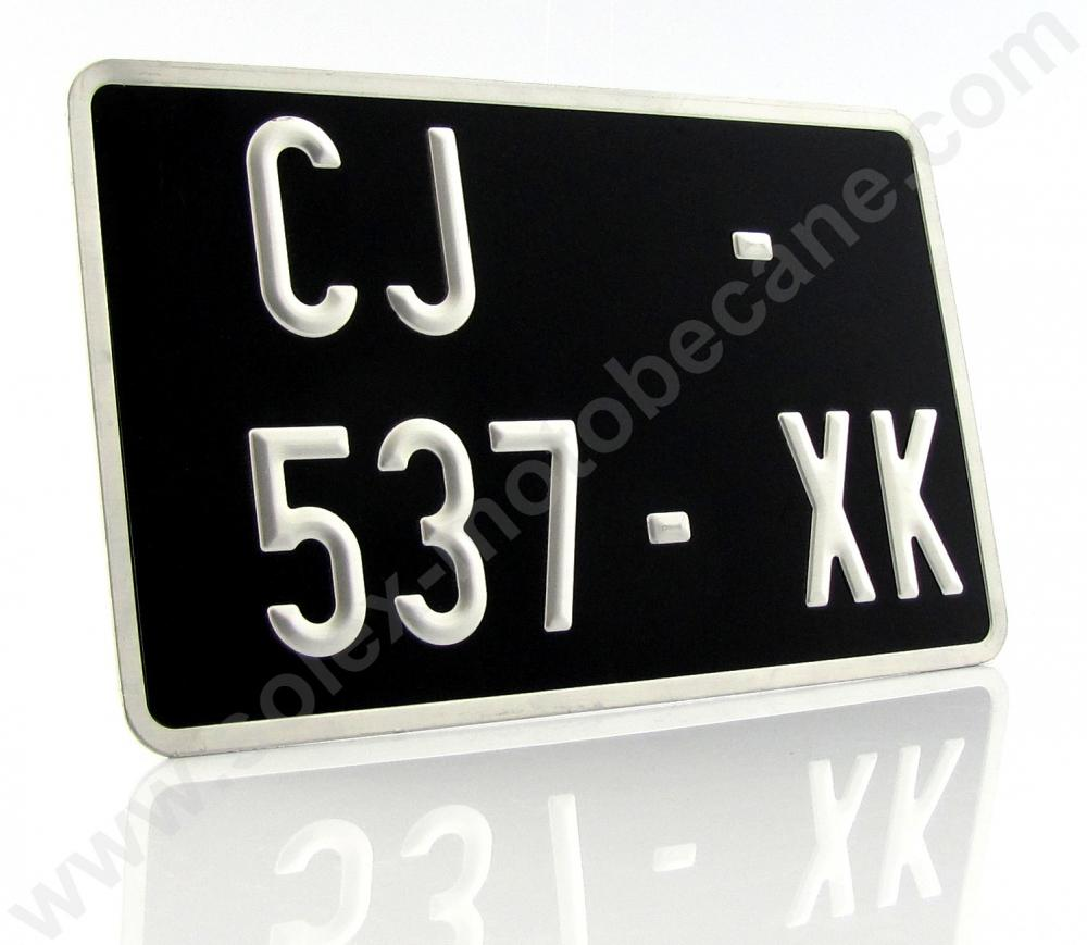 kit plaque immatriculation noire 210x130mm pour cyclos motos scooters de collection packs. Black Bedroom Furniture Sets. Home Design Ideas