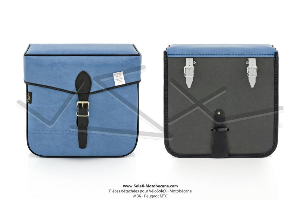 sacoches s14co bleues pour solex mobylette motob cane motoconfort mbk peugeot la paire. Black Bedroom Furniture Sets. Home Design Ideas
