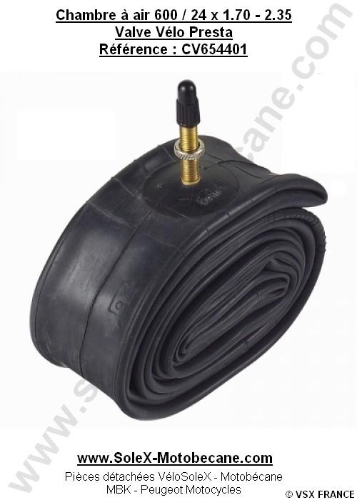 Chambre air 600x45b 600x50b valve v lo presta pi ces for Taille chambre a air velo