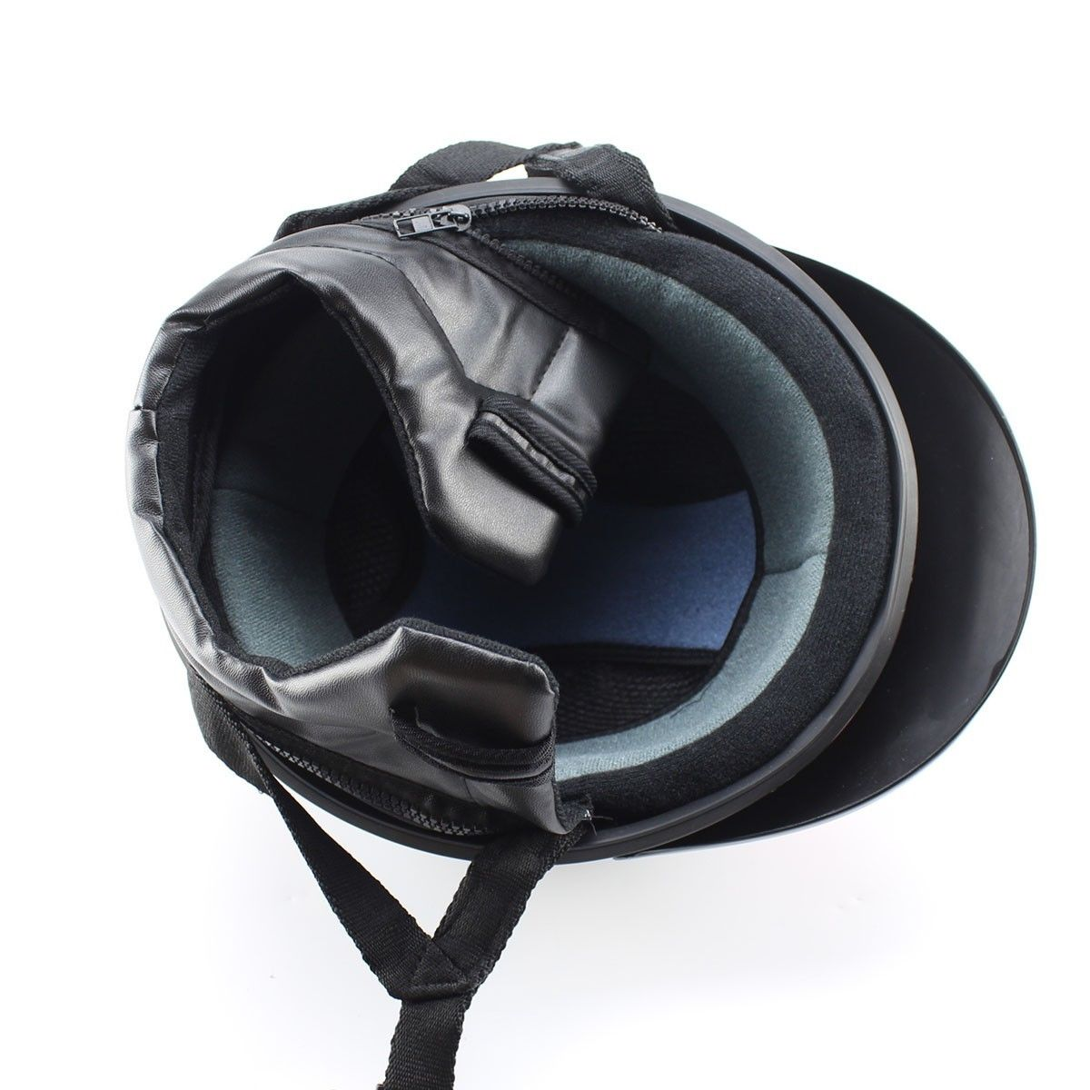 casque bol demi jet simili cuir noir bleu style r tro vintage solex mobylette motob cane. Black Bedroom Furniture Sets. Home Design Ideas