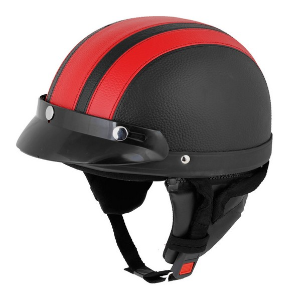 casque bol demi jet simili cuir noir rouge style r tro vintage solex mobylette motob cane. Black Bedroom Furniture Sets. Home Design Ideas