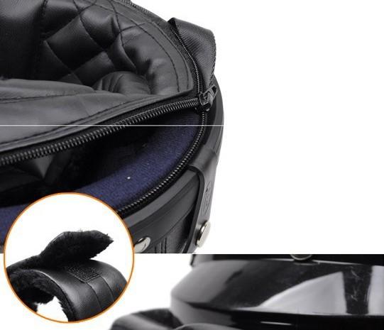 casque bol demi jet simili cuir noir rouge style r tro vintage solex mobylette motob cane. Black Bedroom Furniture Sets. Home Design Ideas