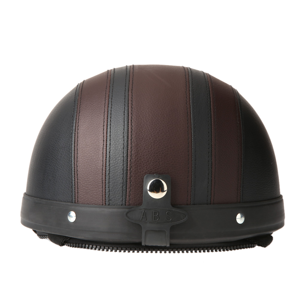 casque bol demi jet simili cuir noir marron style r tro vintage solex mobylette motob cane. Black Bedroom Furniture Sets. Home Design Ideas