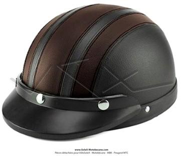 casque bol demi jet simili cuir noir marron style r tro vintage solex mobylette motob cane. Black Bedroom Furniture Sets. Home Design Ideas