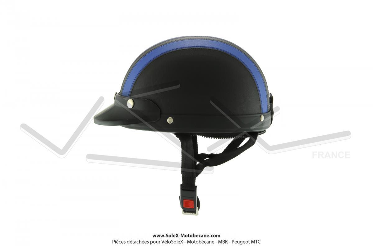 Casque Bol Demi-Jet Simili-cuir Noir   Bleu style Rétro Vintage SoleX   b33e2b5e5f72