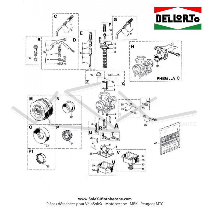 carburateur dell u0026 39 orto phbg 15 as  rigide    starter direct