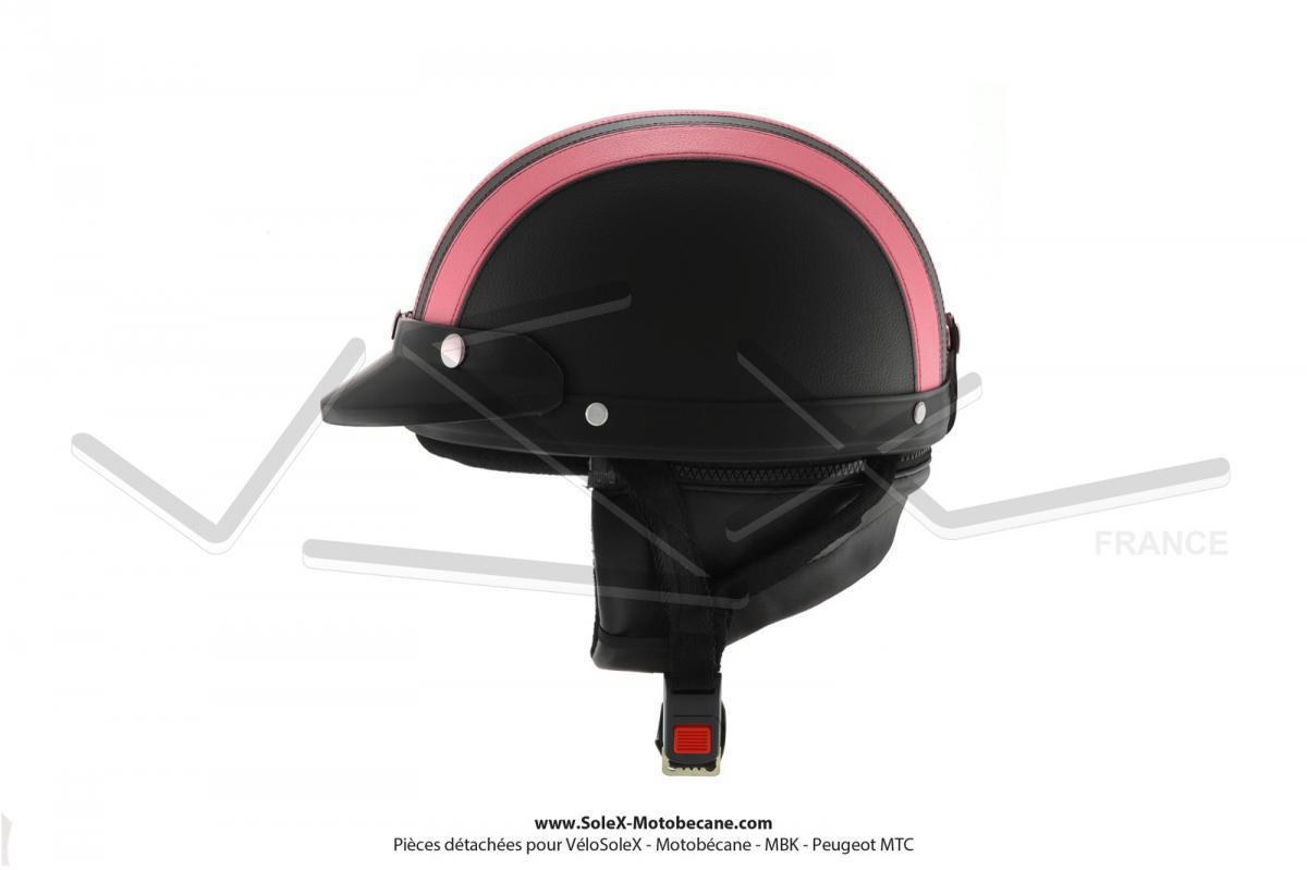 Casque Bol Demi-Jet Simili-cuir Noir   Rose style Rétro Vintage SoleX   61be0625cf22