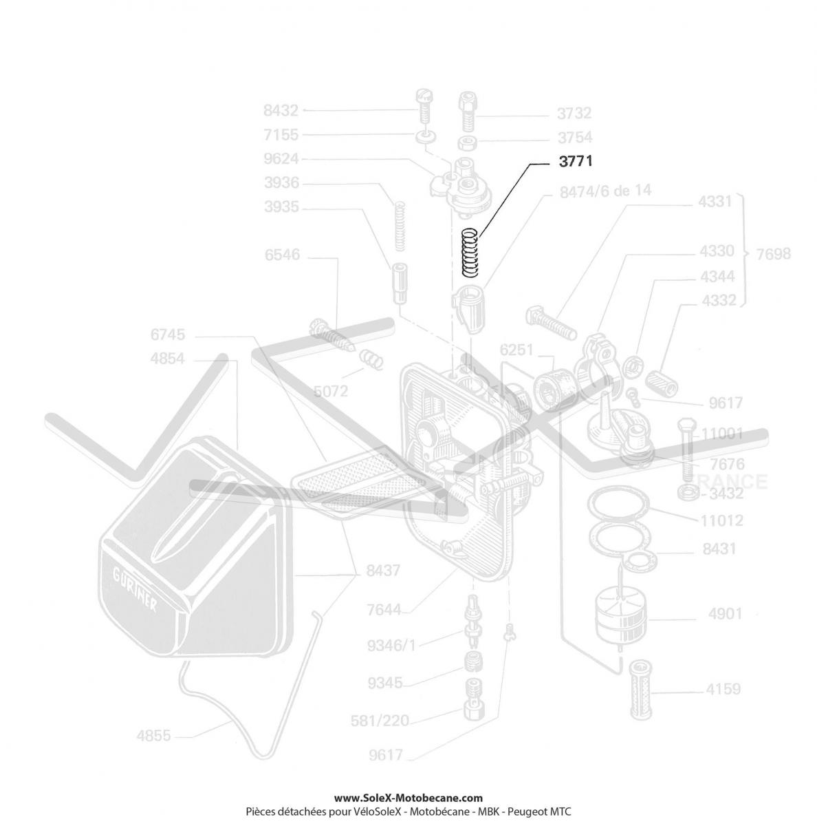 ressort de volet de starter de carburateur gurtner pour mobylette motob cane motoconfort mbk. Black Bedroom Furniture Sets. Home Design Ideas