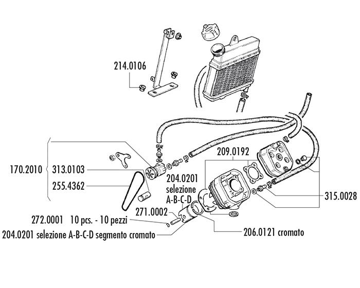 cylindre piston kit alu polini 46mm 70cc w 6. Black Bedroom Furniture Sets. Home Design Ideas