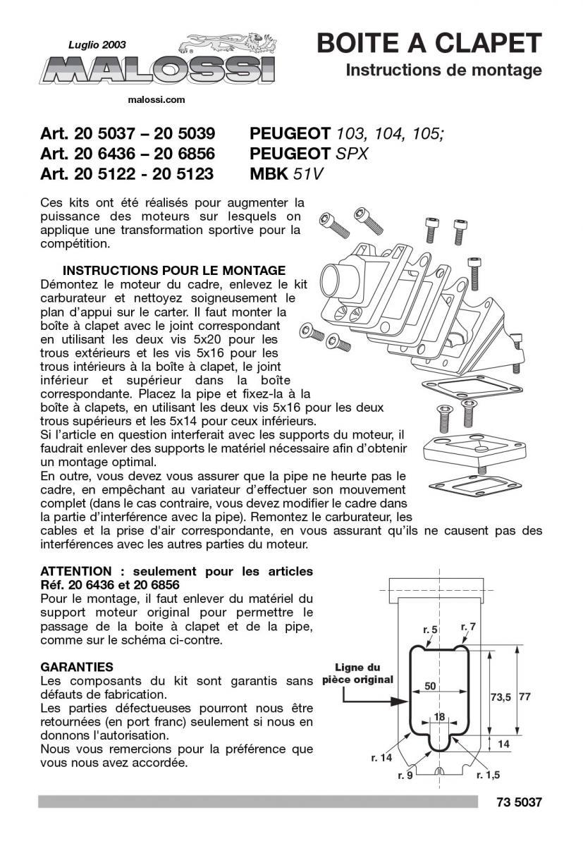 boite clapets malossi pipe boite clapets 21mm. Black Bedroom Furniture Sets. Home Design Ideas
